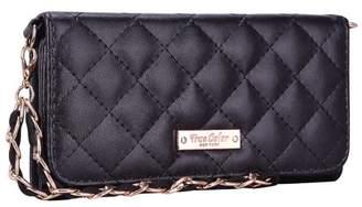 TrueColor iPhone 6 6s Wallet Case - True Color Premium Quilted Pattern Chain Wristlet Wallet Folio Purse Clutch - Black [Logo]