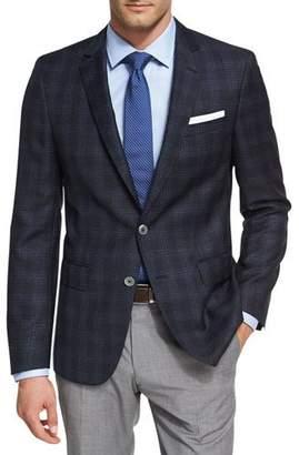 BOSS Shadow Windowpane Wool Sport Coat, Navy