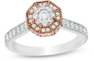 Zales 5/8 CT. T.W. Diamond Octagon Frame Vintage-Style Engagement Ring in 10K Two-Tone Gold