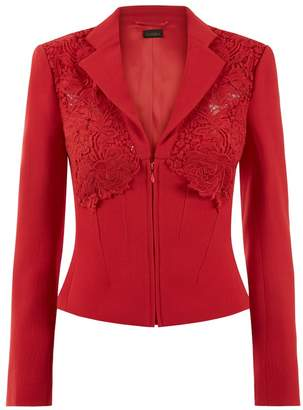 La Perla Essentials Red Bi-Stretch Cool-Wool Short Corset Jacket With Macrame Detailing