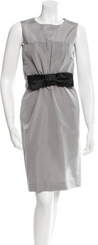 prada Prada Sleeveless Bow Accented Dress