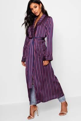 boohoo Satin Stripe Maxi Kimono