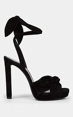 Saint Laurent Women's Hall Suede Platform Sandals - Black