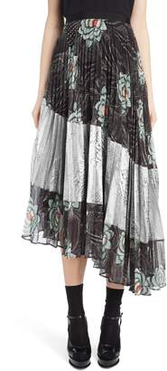Dries Van Noten Pleated Floral Print & Metallic Skirt