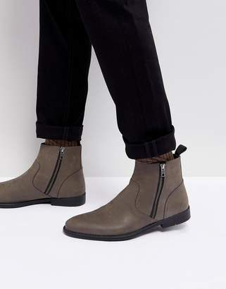 Asos Design Chelsea Boots In Grey Leather With Distressed Sole