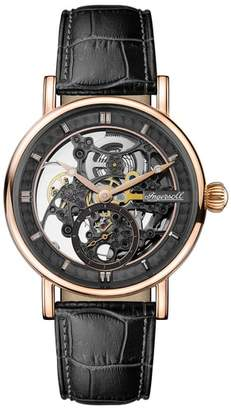 Ingersoll WATCHES Herald Automatic Skeleton Leather Strap Watch, 40mm