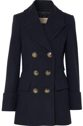 Burberry Double-breasted Wool-felt Coat - Navy