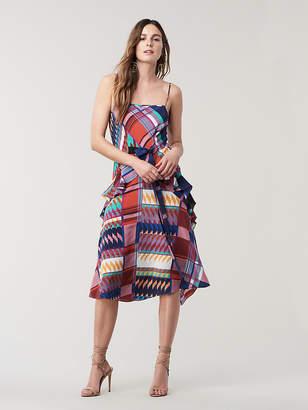 Diane von Furstenberg Josie Silk A-Line Midi Dress