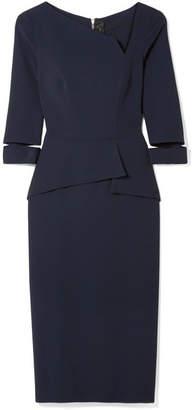 Roland Mouret Dunne Asymmetric Cutout Crepe Dress - Midnight blue