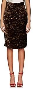 Masscob Women's Leopard-Print Velvet Midi-Skirt