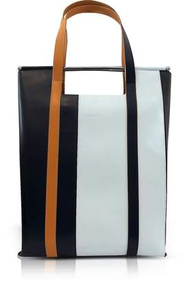 DELPOZO Vertical Striped Patent Leather and Calfskin Gret Tote with Handles