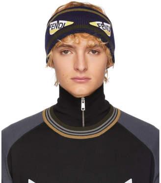 Fendi Navy and Brown Wool Bag Bugs Headband