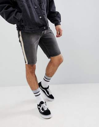 Asos Design DESIGN Denim Shorts In Skinny Washed Black With Side Stripe
