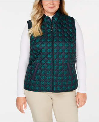 Karen Scott Plus Size Plaid Puffer Vest