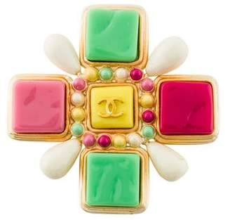 Chanel Resin & Enamel Maltese Cross Brooch