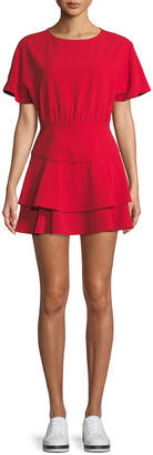 Alice + Olivia Palmira Tie-Back Tiered Mini Dress