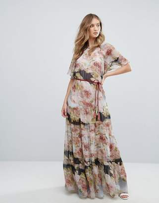Traffic People Short Sleeve Printed Chiffon Floral Bloom Maxi Dress