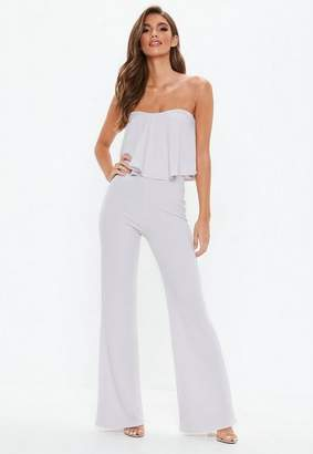 Missguided Gray Double Layer Wide Leg Romper