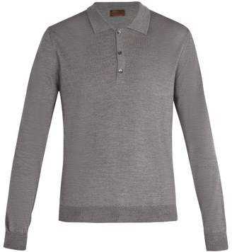 Altea Virgin Wool Blend Long Sleeved Polo Shirt - Mens - Grey