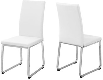 """Monarch Specialties MONARCH - DINING CHAIR - 2PCS / 38""""H / WHITE LEATHER-LOOK / CHROME"""