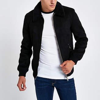 River Island Black faux suede fleece collar jacket