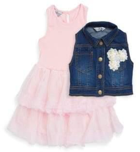 Little Girl's Two-Piece Tutu Dress and Denim Vest Set