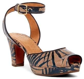 Alberto Fermani Inarra Printed Leather Platform Sandal