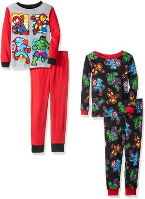 Marvel Boys' Toddler Spiderman and Capt. America Uniform 4-Piece Cotton Pajama Set