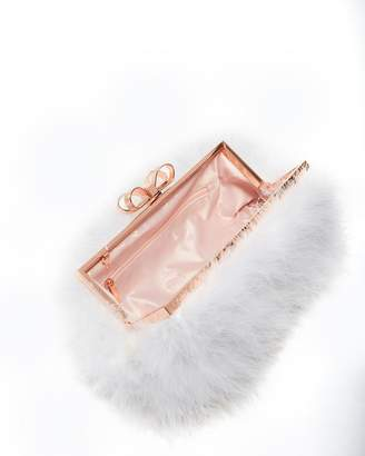Ted Baker Janiie Feather Evening Clutch Bag - Ivory