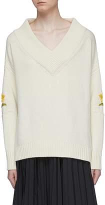 Oscar de la Renta Floral embroidered virgin wool-cashmere V-neck sweater