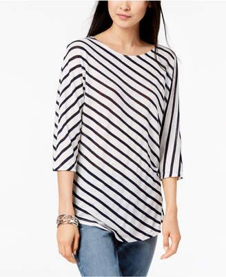 INC International Concepts I.n.c. Petite 3/4-Sleeve Striped T-Shirt