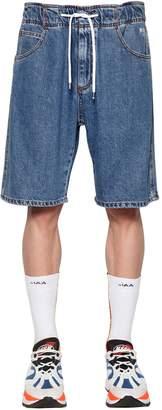 MSGM Cotton Denim Shorts W/ Drawstring