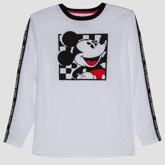 Mickey Mouse & Friends Men's Mickey Mouse Long Sleeve Graphic T-Shirt - White