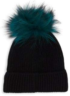Saks Fifth Avenue Dyed Fox Fur Pom Pom Cashmere Hat