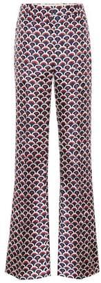 Valentino Printed high-rise flared silk pants