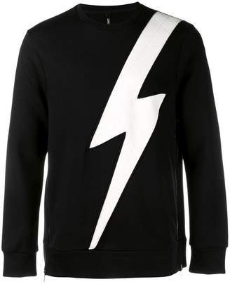 Neil Barrett lightning bolt patch sweatshirt