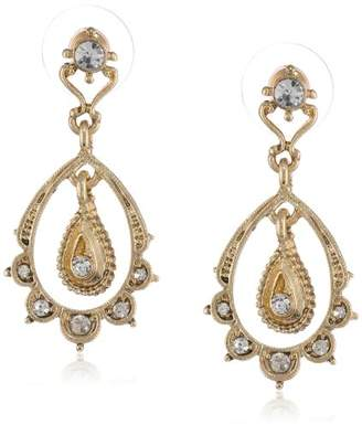 """Downton Abbey""""Gilded Age Carded"""" Gold-Tone Crystal Belle Epoch Scallop Dangle Top Drop Earrings"""
