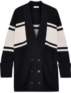 Joie Caleela Striped Cotton And Cashmere-blend Cardigan