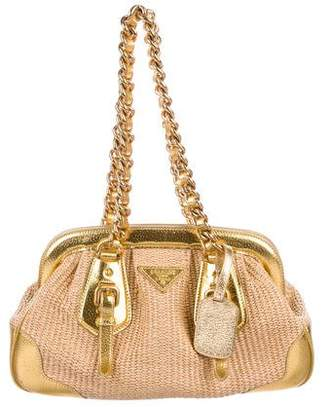 Prada Leather-Trimmed Straw Shoulder Bag