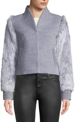 Sentaler Baby Alpaca Wool Bomber Jacket w\/ Fur Sleeves