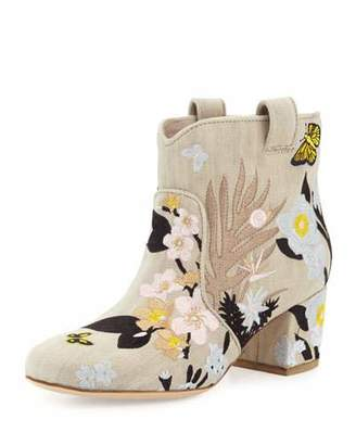 Laurence Dacade Belen Embroidered Western Ankle Boot, Beige/Pastel $895 thestylecure.com