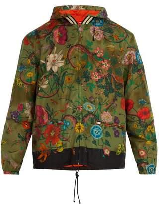 Gucci Floral Print Windbreaker - Mens - Green