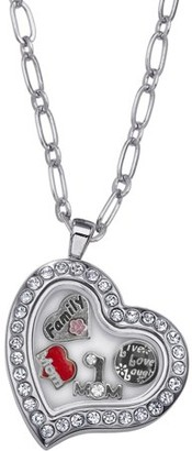 Online Charming Life Rhinestone Silver-Tone Heart MOM Locket, 20""