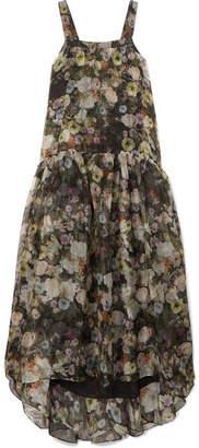 ADAM by Adam Lippes Tiered Floral-print Silk-organza Maxi Dress - Black
