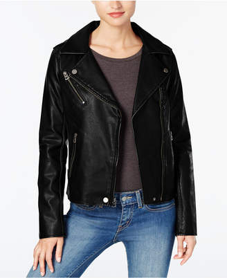 Lucky Brand Distressed Faux-Leather Moto Jacket $180 thestylecure.com