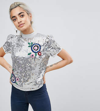 Asos Sequin Top With Embroidery Detail