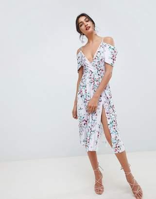 Asos DESIGN Cowl Back Pleated Midi Dress in Stripe Floral Print