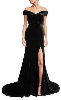 Velvet Off-Shoulder Gown, Black