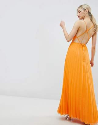 Asos Design DESIGN cami pleated maxi dress with strappy back