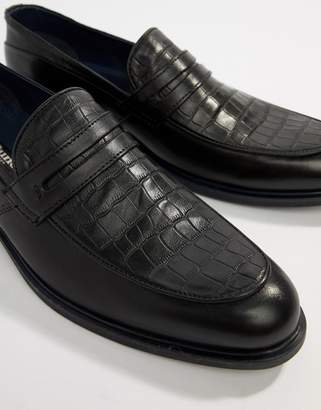 e3a2e2637 Dune Loafers In Black Leather Croc Mix And Navy Trim